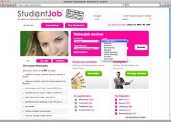 Website in neuem Fenster öffnen - Portal vermittelt an Studenten Praktika, Ferienjobs und Teilzeitstellen